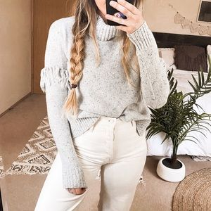 Aerie Gray Turtleneck Fringe Sleeve Sweater